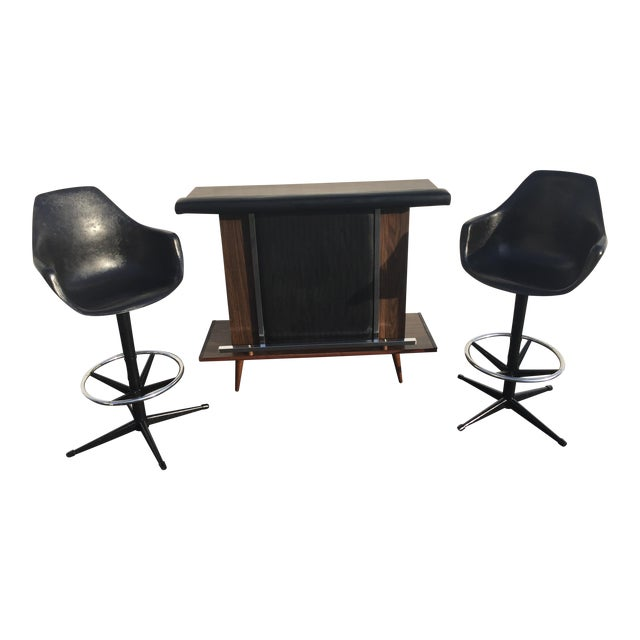 Mid-Century Black Vinyl Bar & Bar Stools - Set of 3 - Image 1 of 11