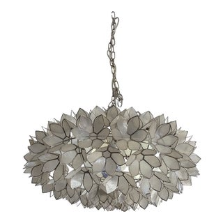 1960's Art Nouveau Lotus Flower Capiz Shell Hanging Light Fixture For Sale