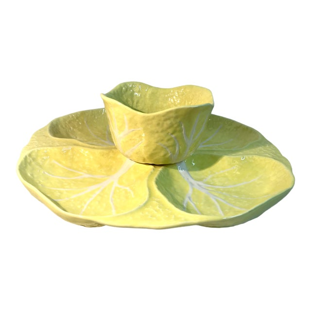 Vintage Portuguese Yellow Cabbage Majolica Serving Set For Sale