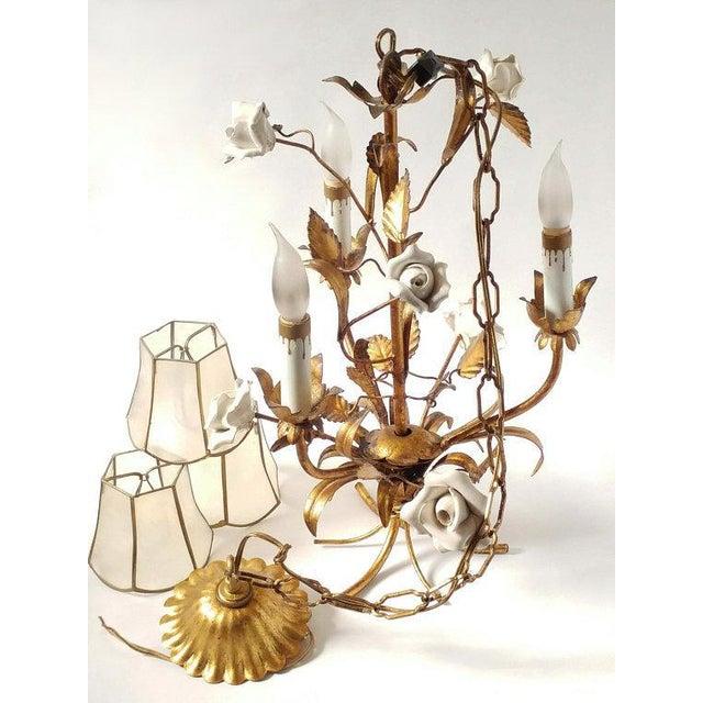1920's Vintage French Toleware 3 Lite Chandelier For Sale - Image 4 of 8