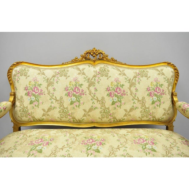 1920s Vintage French Louis XV Style Gold Gilt Settee For Sale - Image 9 of 10