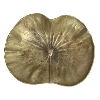 1940's Virginia Metalcrafters Solid Brass Lotus Leaf Dish For Sale