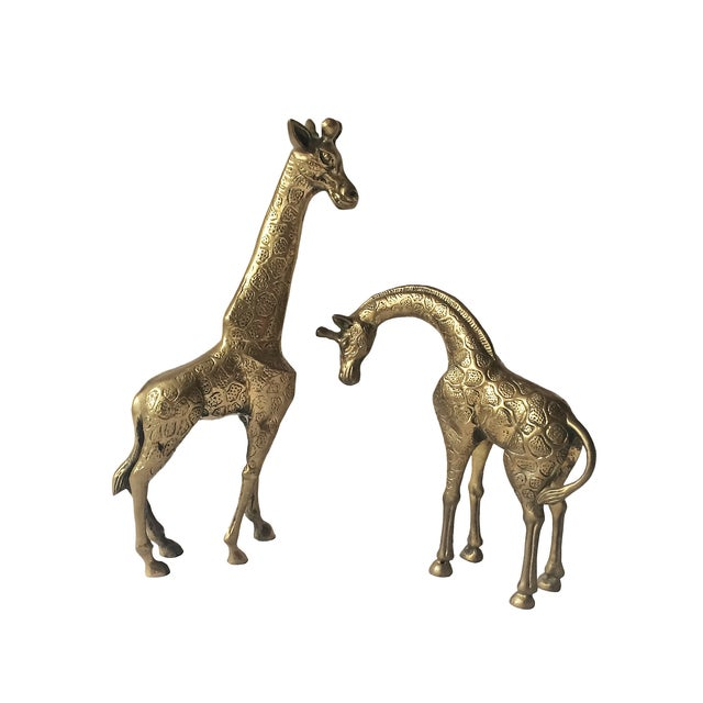 Vintage Monumental Brass Giraffes - Pair For Sale - Image 4 of 4