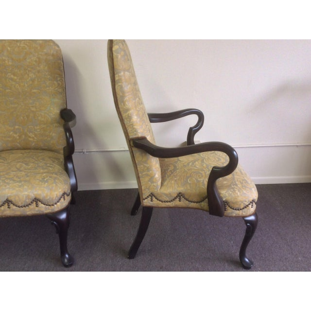 1990s English Style Arm Chairs With Fortuny Upholstery - a Pair For Sale - Image 5 of 12