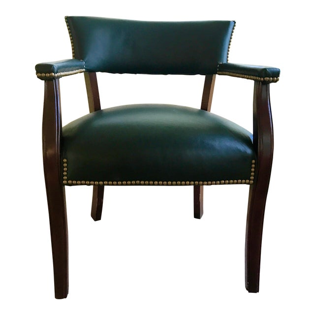 Mid Century Studded Green Leather Library Club Chair For Sale