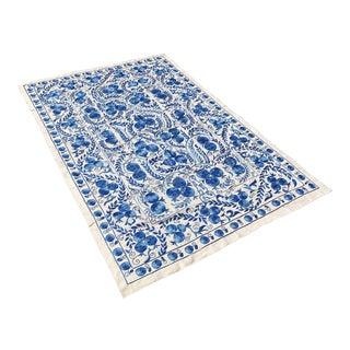 Boho Chic Handmade Blue Crochet Bedspread, Suzani Throw for Boho Decors For Sale