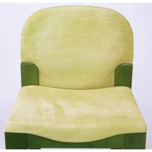 Four Ernesto Radaelli for Saporiti Dining Chairs in Dyed Green Oak and Suede For Sale In Chicago - Image 6 of 9