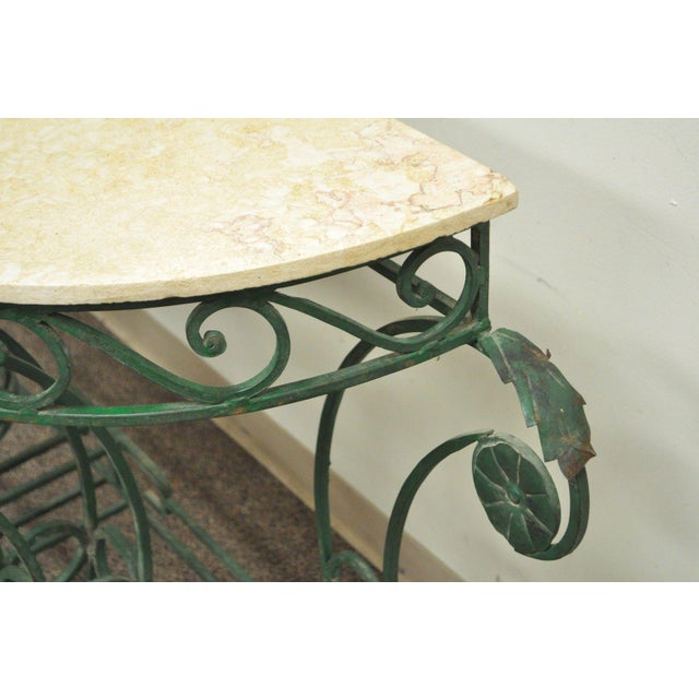 "65"" W Ornate Italian Regency Style Green Wrought Iron Marble Top Console Table - Image 9 of 11"