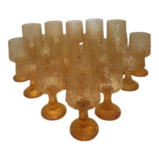 1980s Contemporary Lenox Yellow Wine Glasses - Set of 19 For Sale