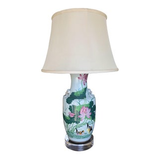 Hollywood Regency Antique Chinese Chinoiserie Ginger Jar Vase Lamp With Lucite Base For Sale