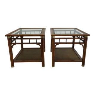Faux Bamboo & Cane With Brass Accents Mid Century Side Tables - a Pair For Sale