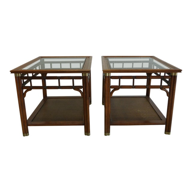 Vintage Faux Bamboo & Cane Regency Side Tables - a Pair For Sale