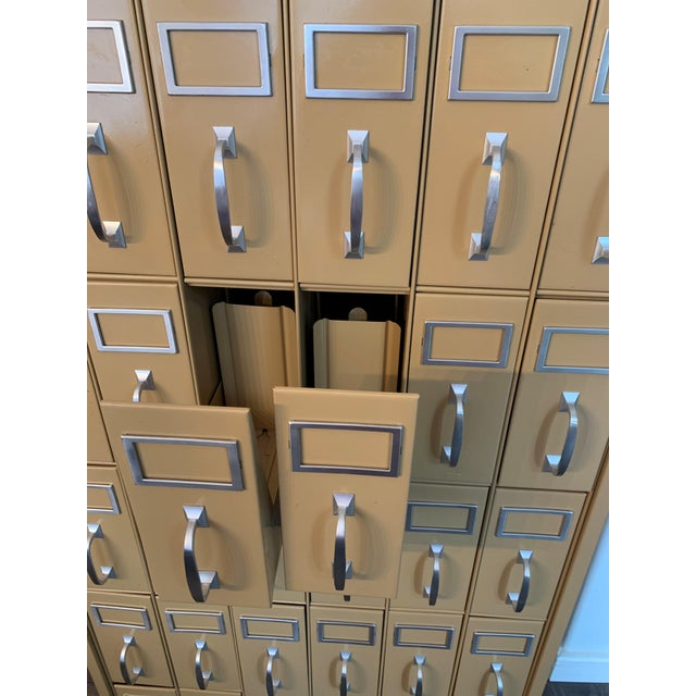 Metal Mid 20th Century Vintage Industrial Filing Cabinet 36 Drawers For Sale - Image 7 of 9