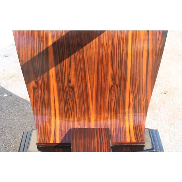 Brown C 1930's French Art Deco Exotic Macassar Ebony Dining Table For Sale - Image 8 of 12