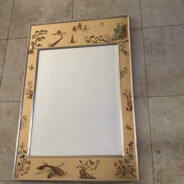 Vintage chinoiserie style mirror by La Barge. Circa 1980. Reverse hand painted egolomise gold leaf. Signed by Artist M.A....