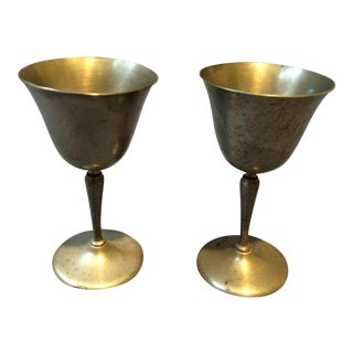 Vintage Handmade Pewter Goblets - A Pair