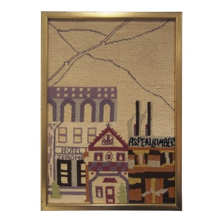 Vintage Hotel Jerome in Aspen Needlepoint Wall Art For Sale