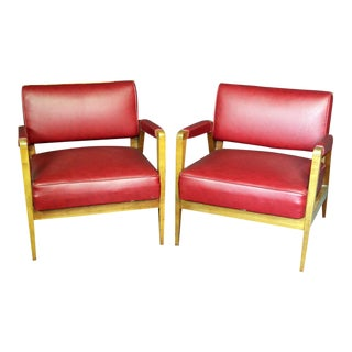 Mid-Century Modern Tiger Maple Lounge Chairs For Sale