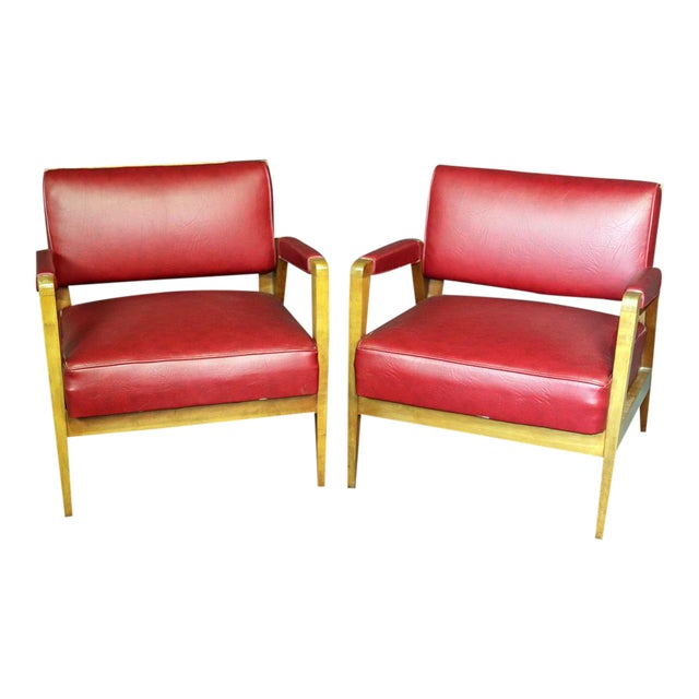 Mid-Century Modern Tiger Maple Lounge Chairs - a Pair For Sale
