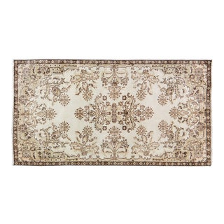 "Vintage Turkish Anatolian Whitewash Hand Knotted Organic Wool Fine Weave Rug,3'9""x7' For Sale"