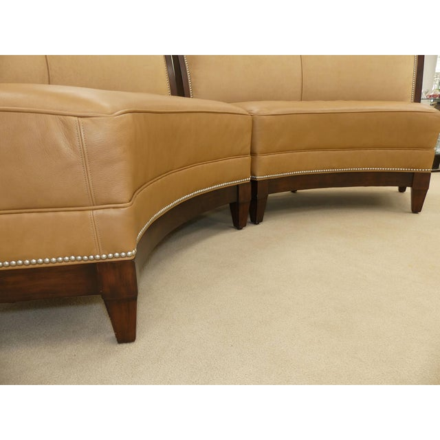 Wood Stanford Furniture Leather & Suede Garrett Curved Dining Bench or Banquette- a Pair For Sale - Image 7 of 13