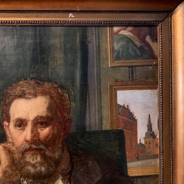 Figurative Holger Roed (1846-1874) Large Portrait of His Father, Denmark For Sale - Image 3 of 11