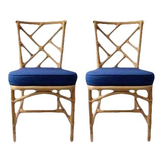 Vintage Chippendale Style Bamboo Side or Dining Chairs With Blue Sunbrella Fabric - a Pair For Sale