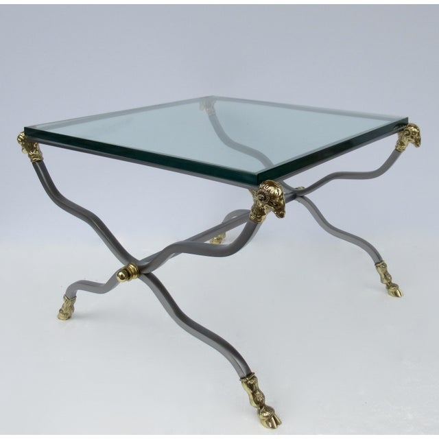 Maison Jansen C.1960s-70s Hollywood Regency Italian Brass, Steel and Glass X-Frame, Side Table, Attr. To Maison Jansen For Sale - Image 4 of 13
