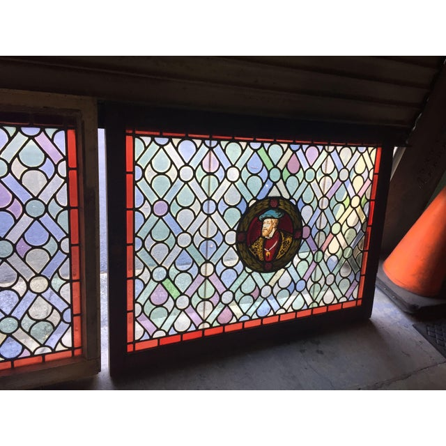 Glass Antique Gothic Stained Glass Panels- a Pair For Sale - Image 7 of 12
