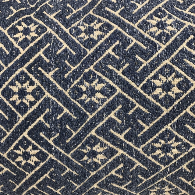 Woven Navy & Taupe Hmong Pillow - Image 3 of 4