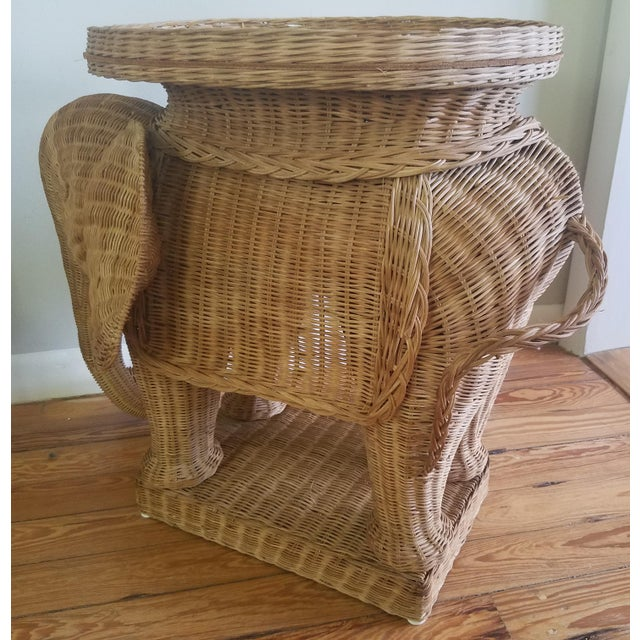 1974 Boho Chic Thailand Natural Wicker Elephant Table For Sale In Miami - Image 6 of 9