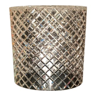 Vintage Crosshatch Lucite Wastebasket For Sale