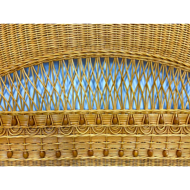 1960s Queen Size Wicker Headboard For Sale - Image 9 of 13