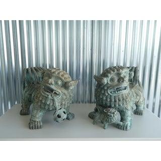 Vintage Chinese Vert De Gris Bronze Foo Dogs- a Pair Preview