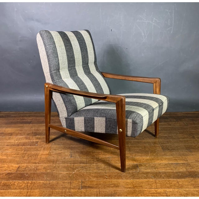 1960s Scandinavian Striped-Wool & Walnut Lounge Chair For Sale In New York - Image 6 of 9