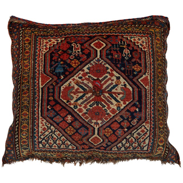 Feather Antique Qashqai Bag Face Pillow For Sale - Image 7 of 7