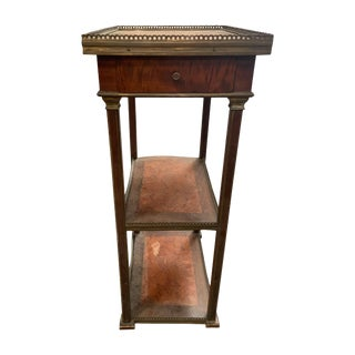 Art Deco Walnut 3 Tier Gallery Stand or Side Table For Sale
