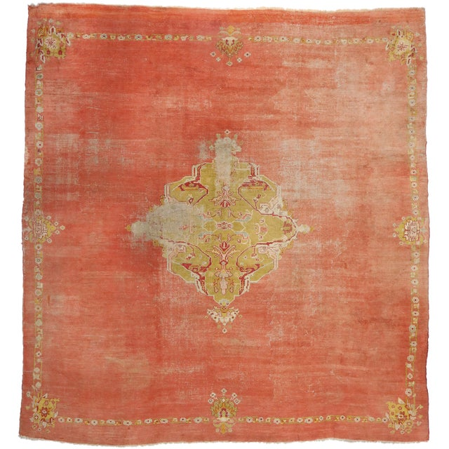 Distressed Antique Turkish Oushak Rug - 14'07 X 15'05 For Sale - Image 9 of 10