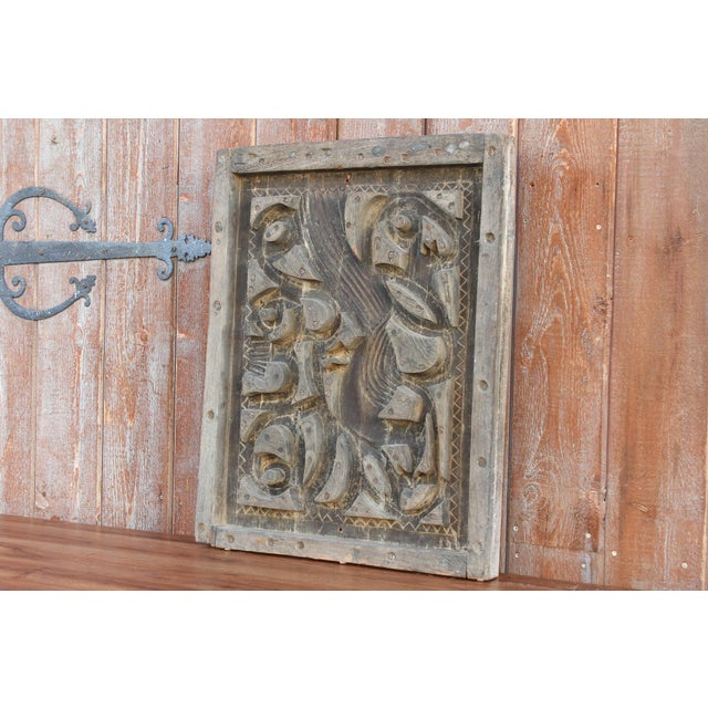 Early 20th Century Antique Abstract Wood Block Printing Panel For Sale - Image 5 of 7