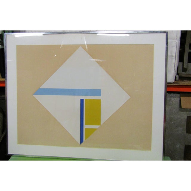 Glass 1960s Vintage Original Abstract Signed Serigraph Print For Sale - Image 7 of 7