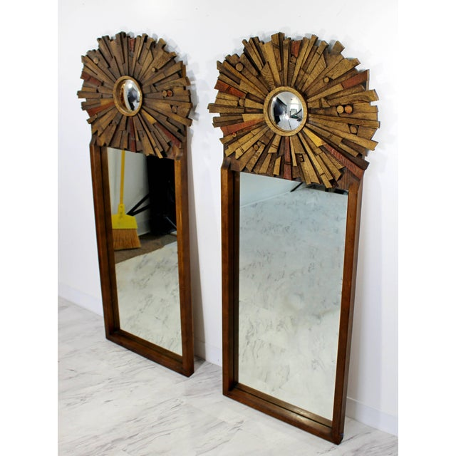1960s Mid-Century Modern Pair of Lane Brutalist Wood Mirrors for Mosaic Line Evans Era For Sale - Image 5 of 11