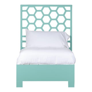 Honeycomb Bed Twin Extra Long - Turquoise For Sale
