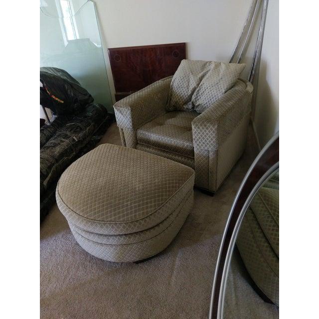 Henredon Aubergine Park Central Chair & Ottoman - Image 4 of 8