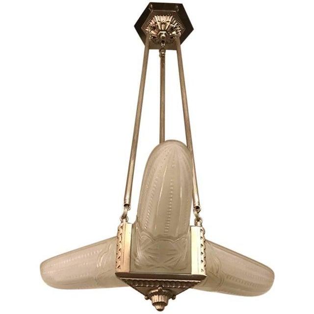 French Art Deco Triangular Starburst Chandelier For Sale - Image 12 of 12