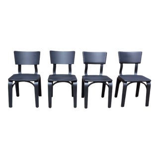 Vintage Mid Century Modern Set of 4 Black Thonet Bentwood Dining Chairs For Sale