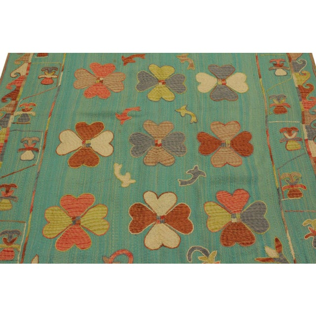 Embroidered Ikat Kilim Contrera Blue Wool Rug- 5′1″ × 7′ For Sale - Image 4 of 8