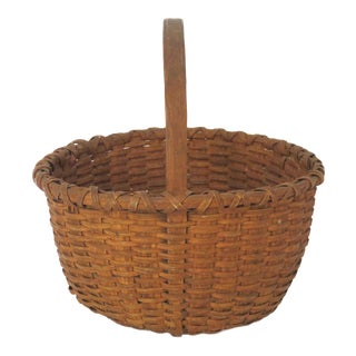 Antique American Maine Indian Hand Woven Ash Splint Basket For Sale