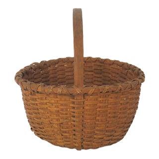 Antique Coastal Maine Ash Splint Carry Basket For Sale