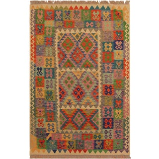 Marica Ivory/Blue Hand-Woven Kilim Wool Rug -5'1 X 6'8 For Sale