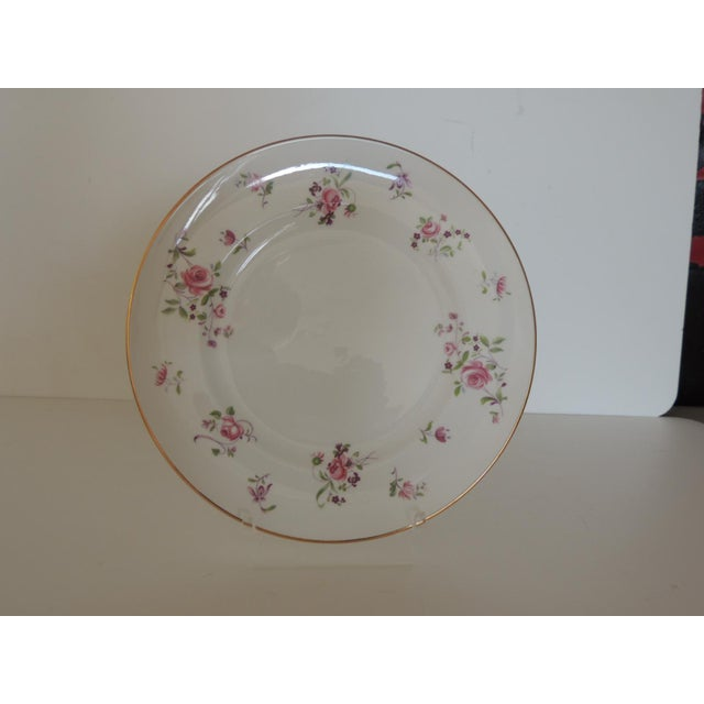 """Pink and White Limoges Dessert Floral Plate with gold accents and pink peonies flowers. Size: 8""""D x. 25""""H"""